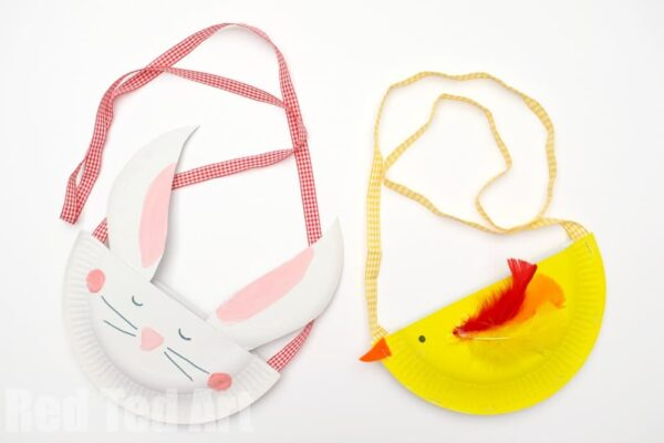 Instead of Easter Basket Crafts make these cute Paper Plate Bunny Purse & Chick Purse - cute easy Easter craft vs2
