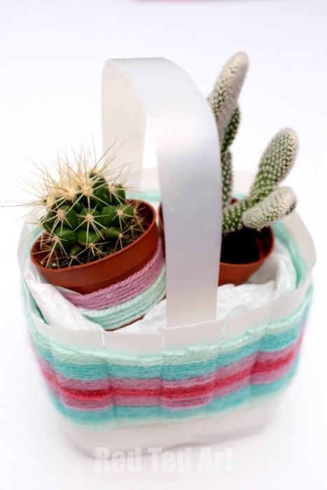 Milk Carton Woven Basket Craft