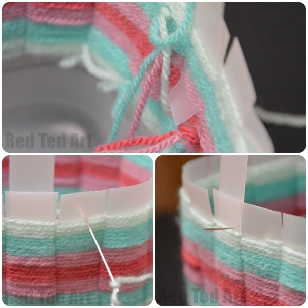 Upcycled Woven Basket - attaching the handle