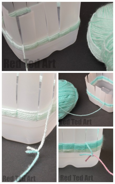 Weaving Baskets from Milk Cartons