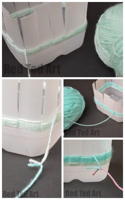 Weaving Baskets from Milk Cartons