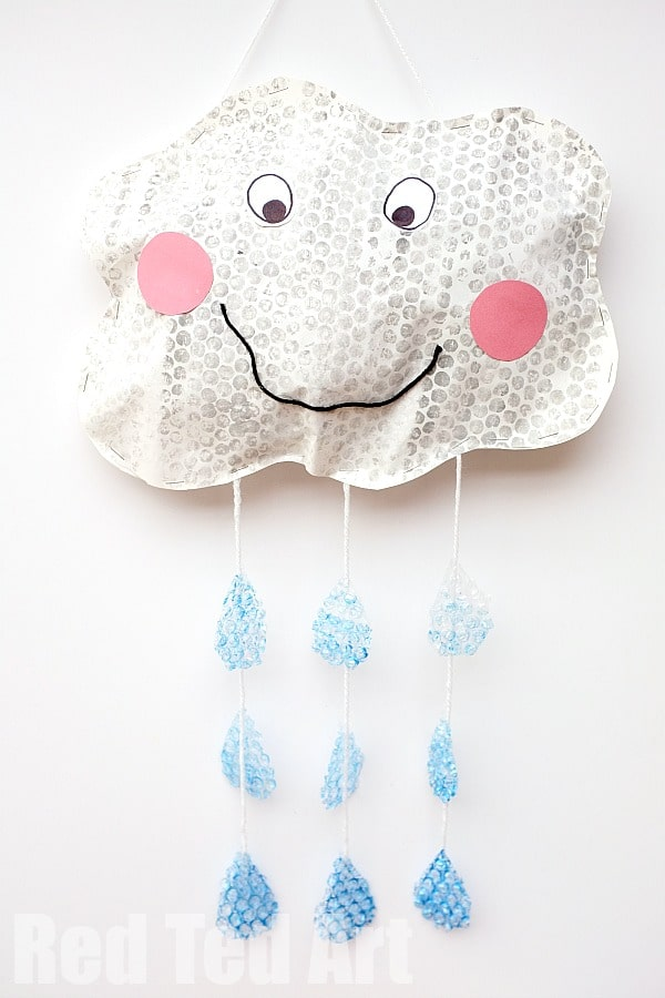 Bubble Wrap Printing - happy rain cloud mobile