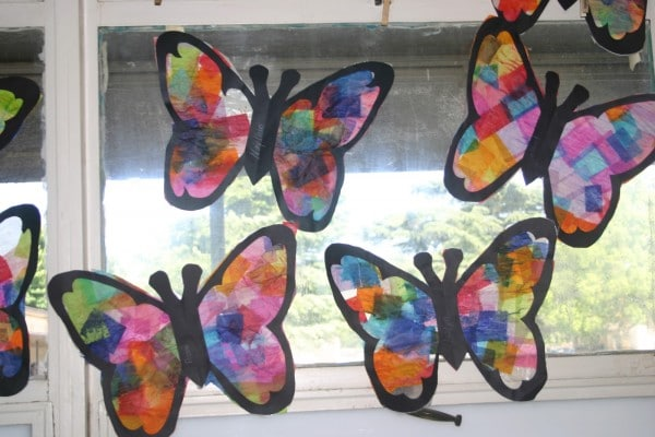 Butterfly Suncatchers tissue paper craft