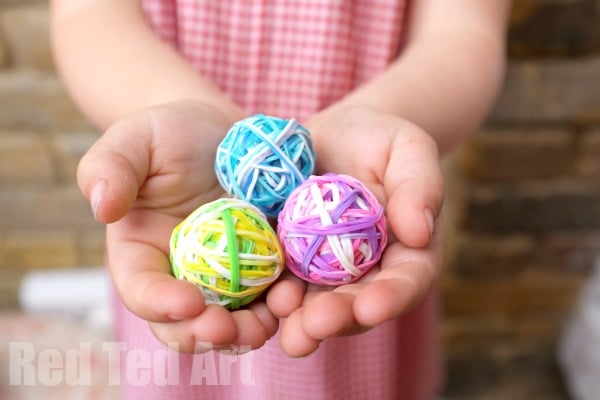 DIY Bouncy Balls - A Great Way to Use Up Rainbow Loom Bands - Red