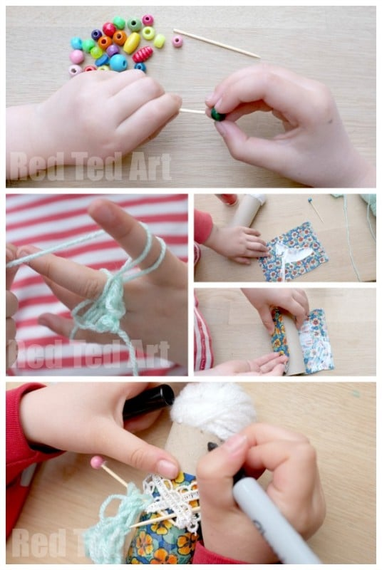 Granny TP Roll Craft, complete with Knitting Needles! How to make a toilet roll granny. How to make toilet roll people #toiletpaperroll #toiletrolls #preschool