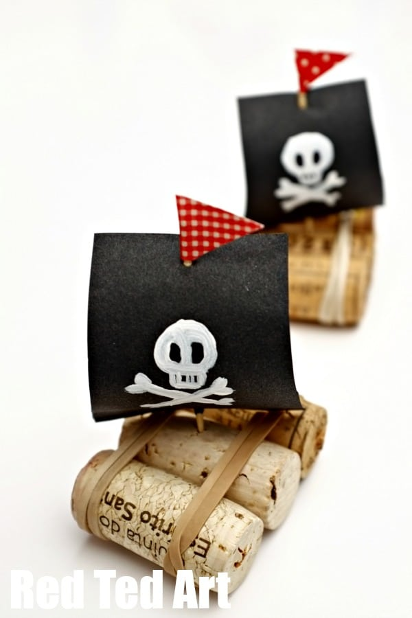 pirate ships cork boat craft for kids red ted art 39 s blog. Black Bedroom Furniture Sets. Home Design Ideas