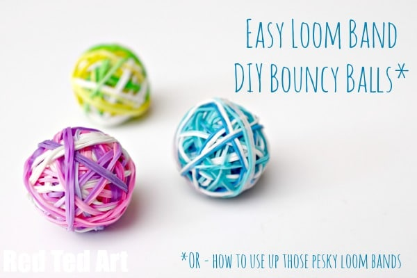 Diy bouncy balls a great way to use up rainbow loom for Rubber band crafts without loom