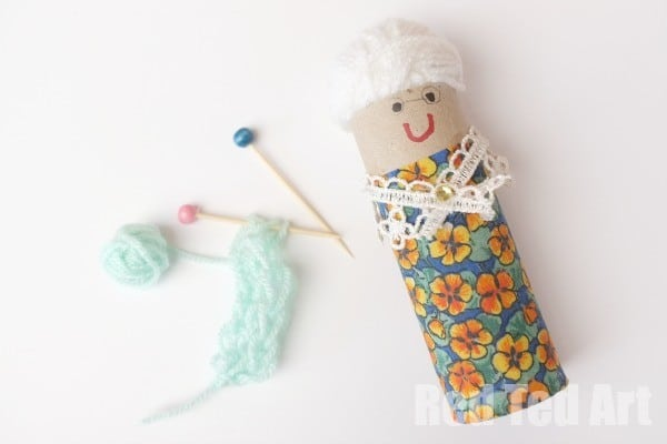 TP Roll Granny Craft, with knitting needles