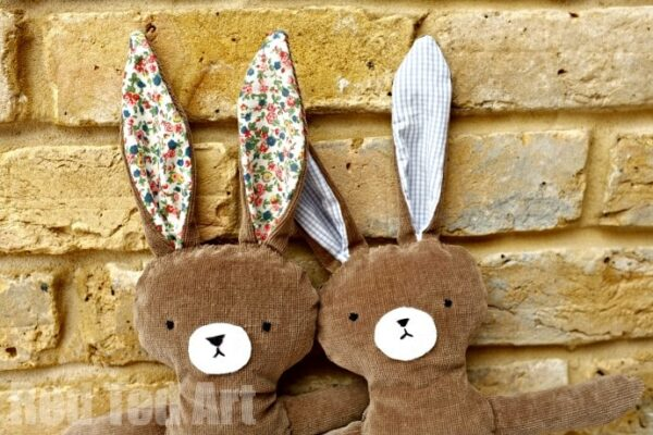Adorable Free Bunny Pattern - make these for the kids from recycled materials.