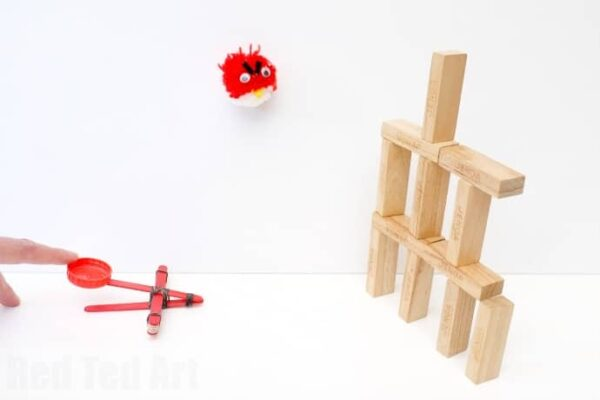 Catapult Craft from Craft Sticks & Loom Bands - have a game of angry birds