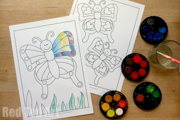 Cute Butterfly Coloring Pages for Kids (free printable)