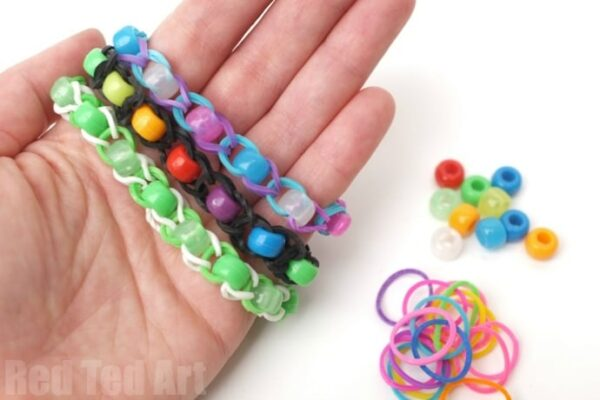 Pony Bead Rainbow Loom Band Pattern - using your fingers or two pencils