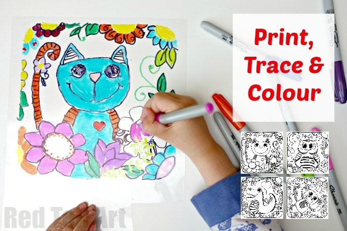 4 Free Colouring Pages - turn them into wonderful sun catchers with the kids. The kids adored the process and loved the results