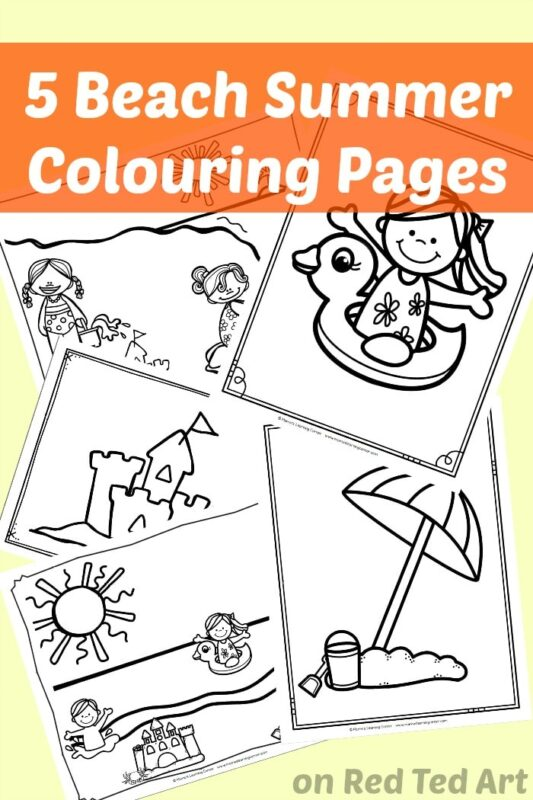 5 At The Beach Summer Coloring Pages - get the kids excited about going to the beach
