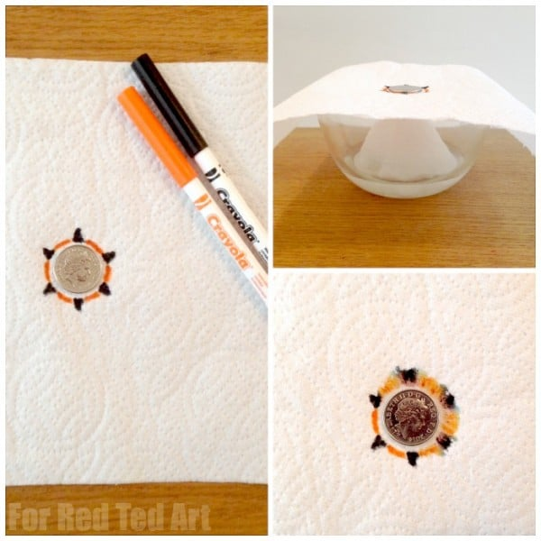 Chromatography flower - fun science for kids - how to separate out colours from felt tip pens