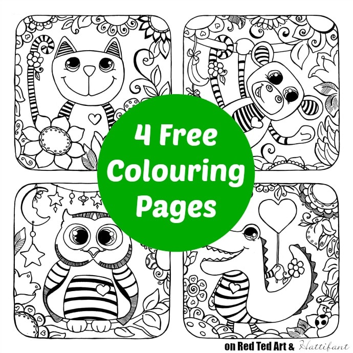 Cute animal colouring pages these 4 colouring pages are totally free