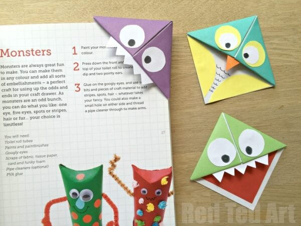 Monster corner bookmarks and owls red ted art 39 s blog How to make a simple bookmark