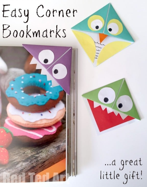 Easy Origami Corner Bookmarks - turn them into Monsters, Owls and wherever your imagination takes you. A great little gift for book lovers on Father's Day or Teacher Appreciation or for Back to School