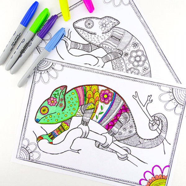 Free Colouring Pages for Grown Ups - click, print and colour these cool colourful chameleons