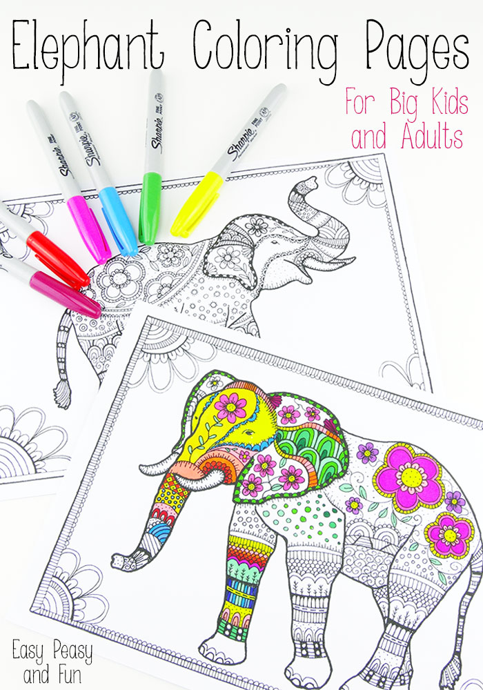 free printable elephant coloring pages for adults