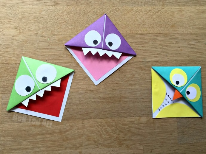 Fun easy origami corner bookmarks turn them into for Simple bookmarks