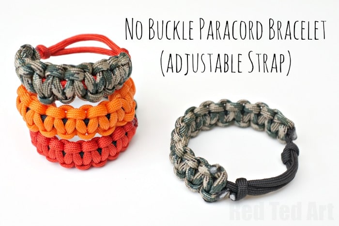 How To Make Paracord Bracelets With No Buckle And Adjule Strap Red Ted Art S Blog