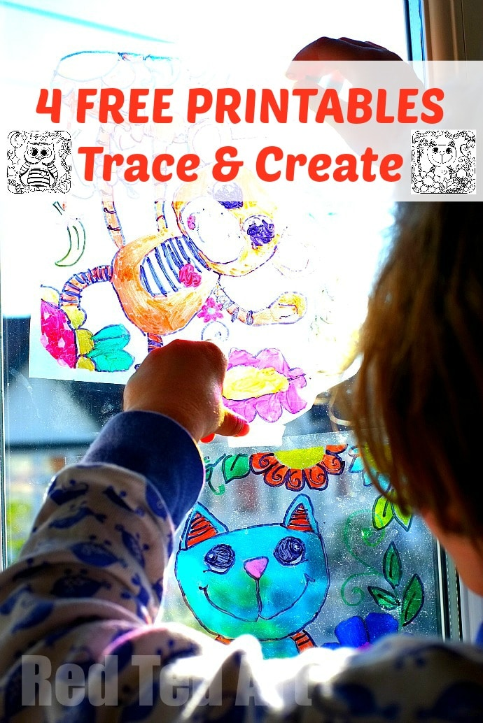Sun Catcher Colouring Pages - 4 Free Printable - Trace & Create your own suncatchers (or just have fun colouring them!)