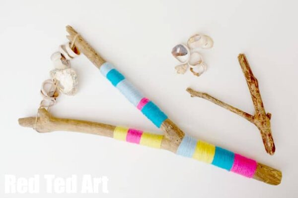 Beach Wood Rattles - jazz up these broken shell & beach wood rattles with some colourful yarn