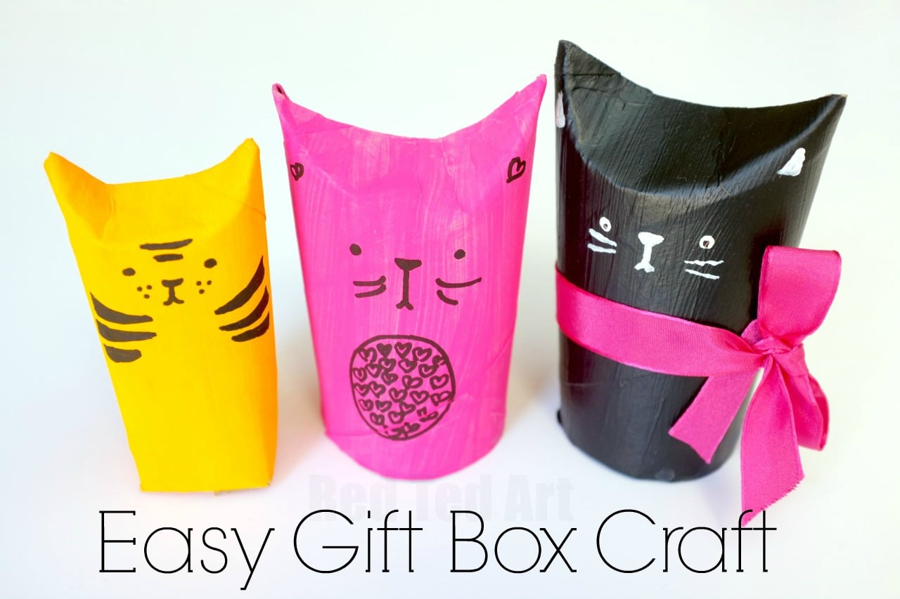 Cat TP Roll Gift Boxes. A super cute upcycled project come gift wrap idea. Fill with small treats or something bigger