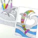 Free Colouring Pages for Grown Ups – Dolphins