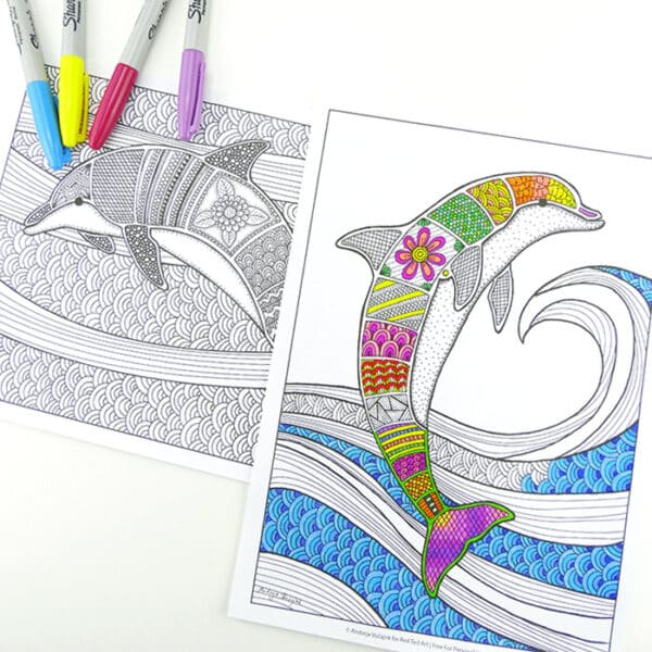 Free Colouring Pages For Grown Ups - Dolphins - Red Ted Art - Make Crafting  With Kids Easy & Fun