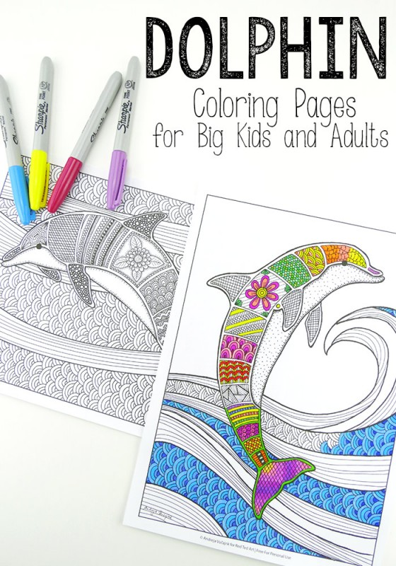 Free Colouring Pages for Grown Ups - Dolphins - Red Ted Art\'s Blog