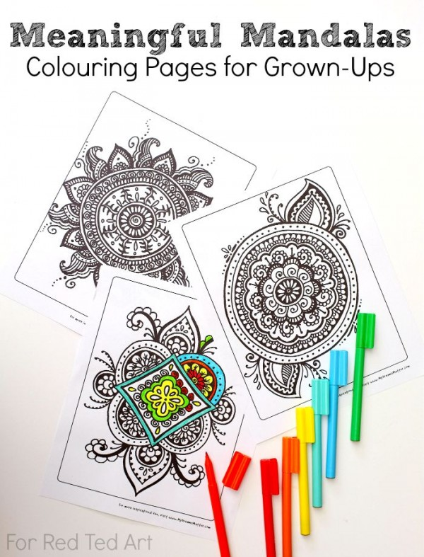 Colouring Pages for Grown Ups - Meaningful Mandalas - Red Ted Art\'s Blog