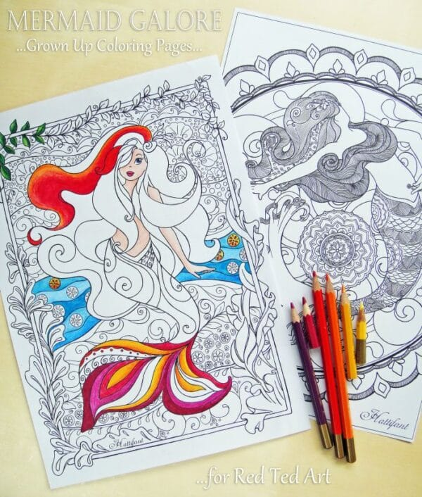 Free Mermaid Colouring Pages for Grown Ups Red Ted Arts Blog