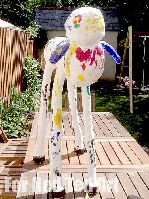 How to make Papier Mache Sculptures - shaun the sheep - papier maching - almost ready