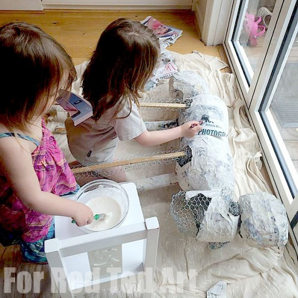 How to make Papier Mache Sculptures - shaun the sheep - papier maching continues