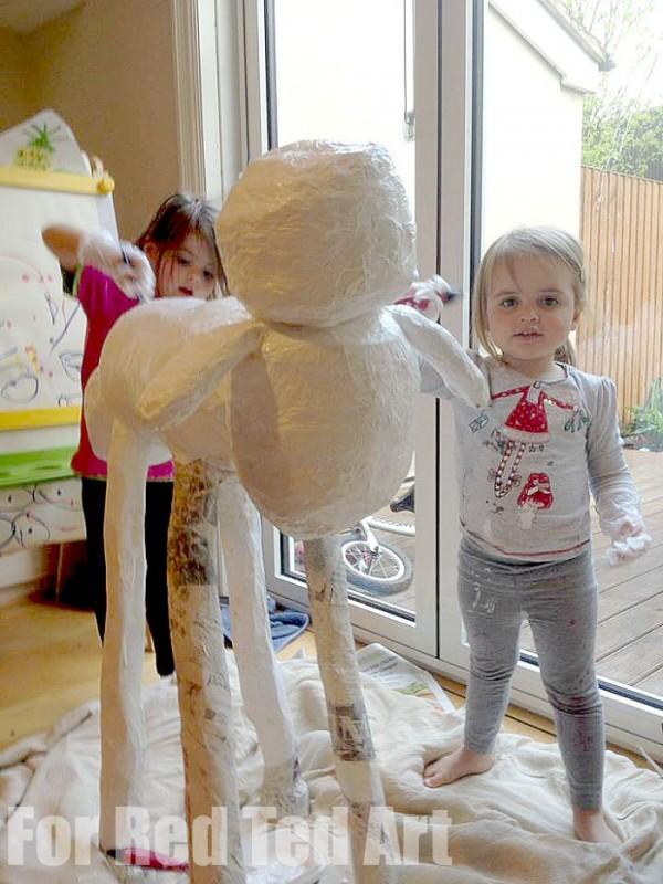 How to make Papier Mache Sculptures - shaun the sheep - papier maching - primer