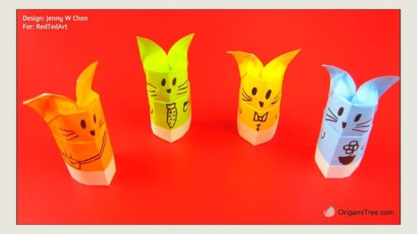 Origami Cat Finger Puppet and Pencil Topper 2 THUMBNAIL