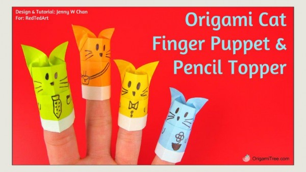 Origami Cat Finger Puppet and Pencil Topper THUMBNAIL
