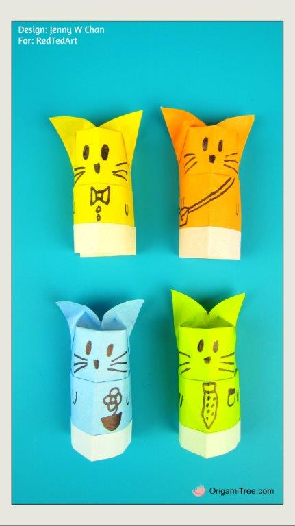 Origami Cat Finger Puppet and Pencil Topper THUMBNAIL PORTRAIT