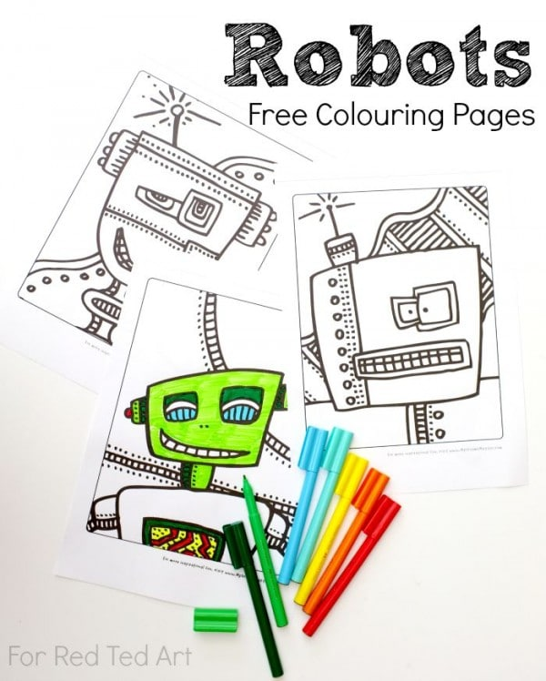 Free Robots Colouring Pages - Red Ted Art\'s Blog