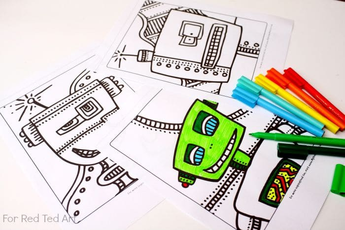 Free Robots Colouring Pages - Red Ted Art - Make Crafting With Kids Easy &  Fun
