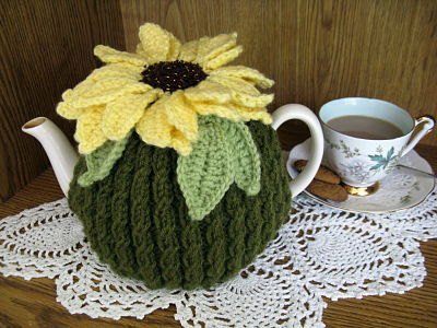 free knitted tea cozy sun flower pattern
