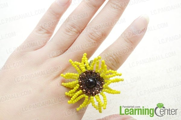 sunflower crafts - beaded ring how to