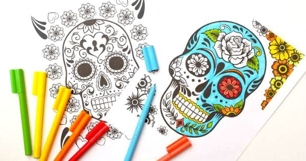 day of the dead coloring pages for grown ups kids