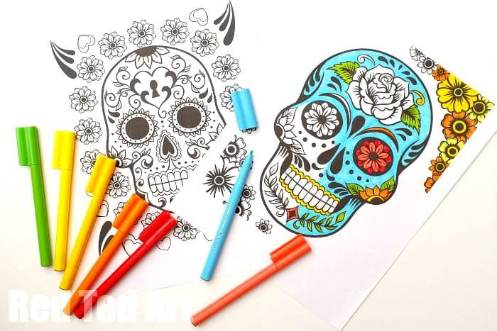 Sexy Sugar Skull Flowers Coloring Pages Printable | 467x700