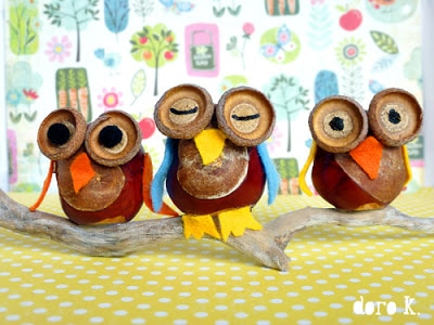 conker crafts - owls for autumn - so so sweet