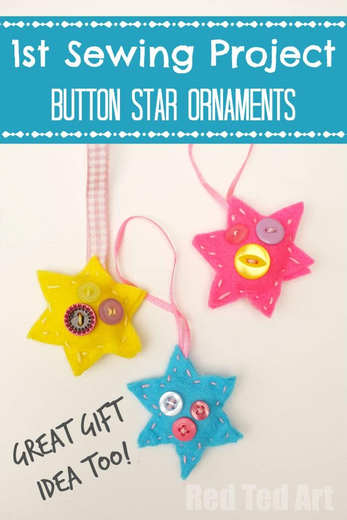 Button Star Ornaments - Sewing with Kids, a great start sewing project & makes a lovely gift too!
