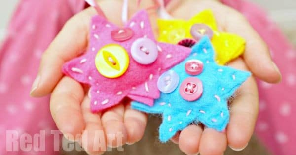 Child Made Button Star Ornaments - a great sewing project for kids