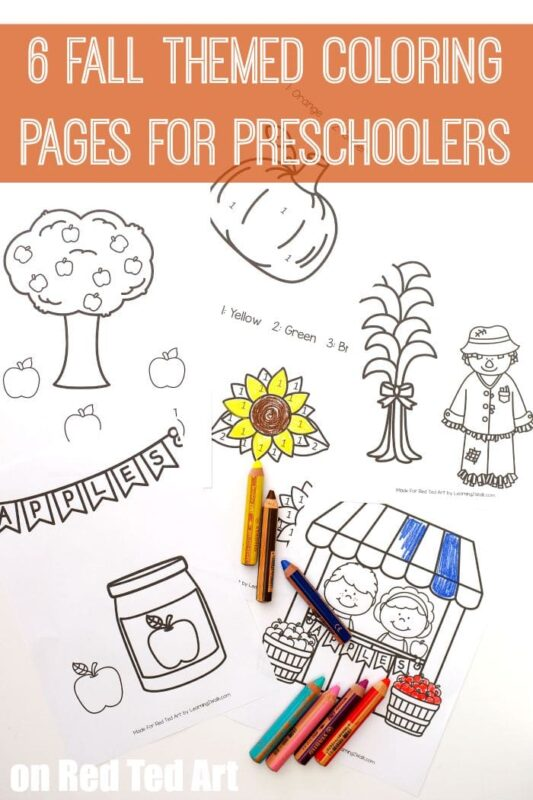 Fall Coloring Pages for Preschoolers - a great way to discuss and explore the Fall Season with Kids - cute designs, including some coloring by numbers. Perfect for number & coloring recognition